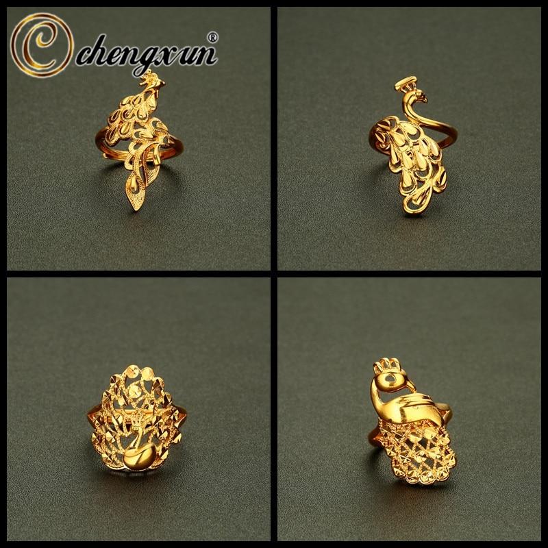 CHENGXUN Phoenix forma anillo mujeres hombres joyería oro Peacock Metal anillos grandes para las mujeres encanto decorativo anillo Bagues Pour Femme