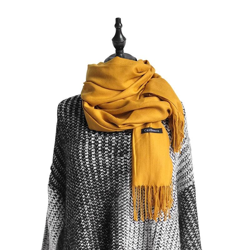 Шарф 19 видов цветов женский, желтый плотный однотонный шарф, палантин, бандана из пашмины, Женский хиджаб, зимний длинный шарф