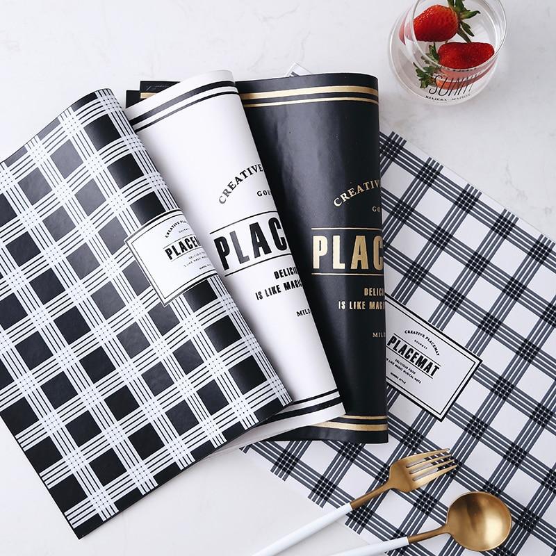 Einfache Nordic Leder Tischset Dining Geschirr Gold Brief Pad Tisch Matte Tischset Bremsbeläge Schüssel Schwarz Coaster Küche Zubehör