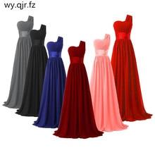 LLY6818BL#New spring summer 2019 dark blue one-shoulder long bride wedding party toast dress Bridesmaid Dresses cheap wholesale