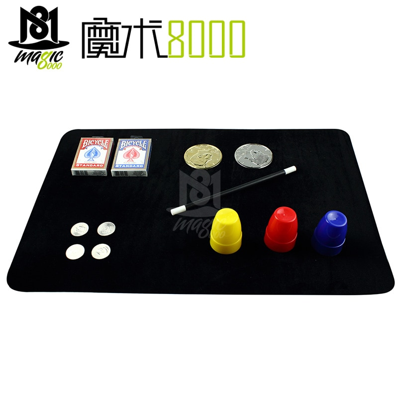 Tapis de cartes de Poker professionnel noir, petit tapis de Poker, fermer les tours magiques, accessoires de magicien, jouet pièce de monnaie illusion magique WYQ
