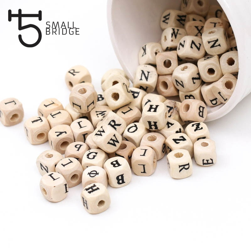 AliExpress - 100pcs 10mm Diy Natural Alphabet Wooden Beads For Jewelry Making Children Toy Unfinished With Hole Square Wood Beads W302
