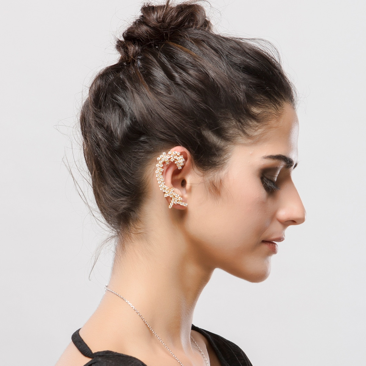 Tpm pino de aço anti-alergia ouro prata arma cor preta grampos de orelha para senhoras moda luxo aaa cúbico zircônia orelha punhos jóias