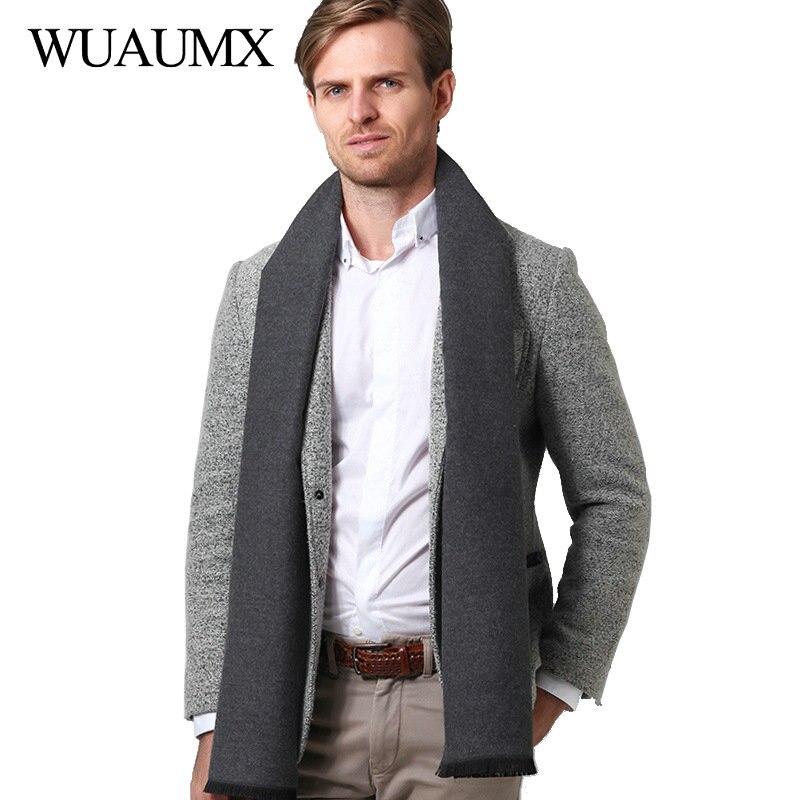 Wuaumx, bufanda de invierno para hombre, bufandas casuales sólidas, bufandas de Cachemira de imitación para hombre, chales, bufanda, bufanda con borla, foulard
