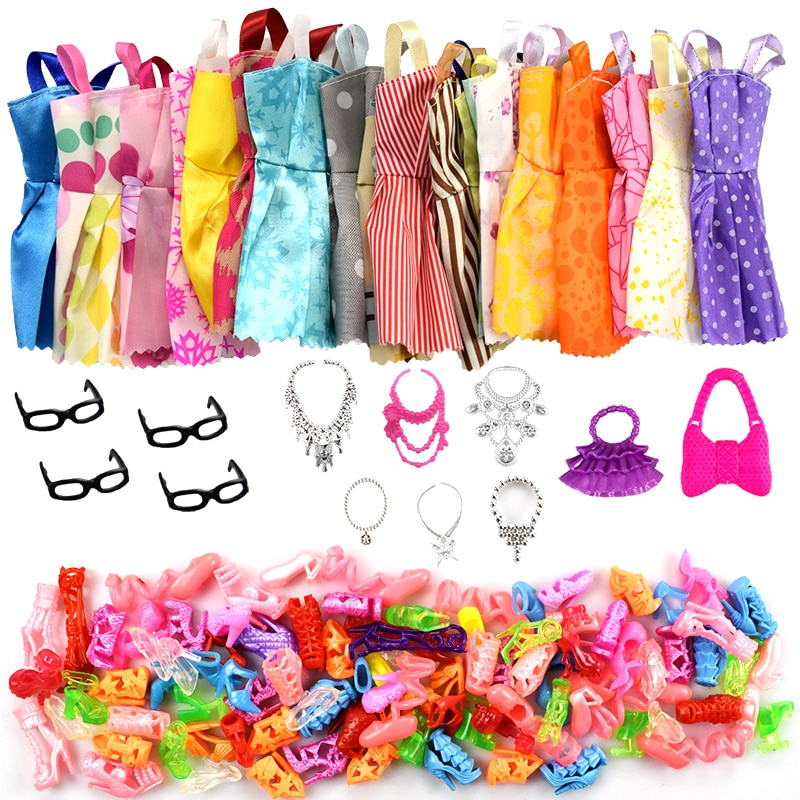 32 Item/Set Doll Accessories=10 Pcs Doll Clothes Dress+4 Glasses+6 Plastic Necklace+2 Handbag+10 Pai