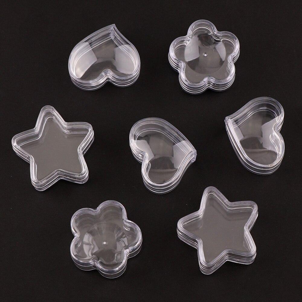 10Pcs Transparent Plastic Empty Storage Boxes Nail Art Tip Glitter Pot Box Container Nail Art Rhinestone Bead Gems Case