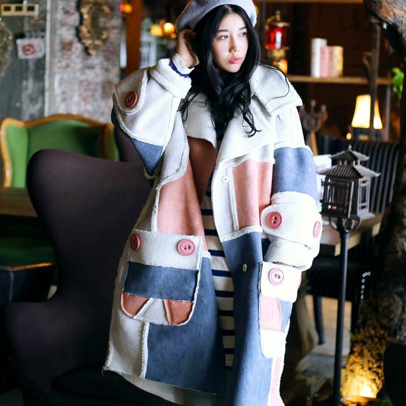 [MX]New Arrival Women Casual Loose Plus Velvet Color Block Berber Fleece Suede Thicken Long Oversized Winter Long Coat