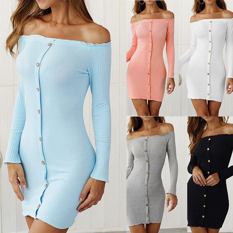 Minivestido de otoño ajustado, con hombros descubiertos, de manga larga y cuello de camisa, hilera simple de botones, de punto, Sexy, blanco, elegante, para mujer