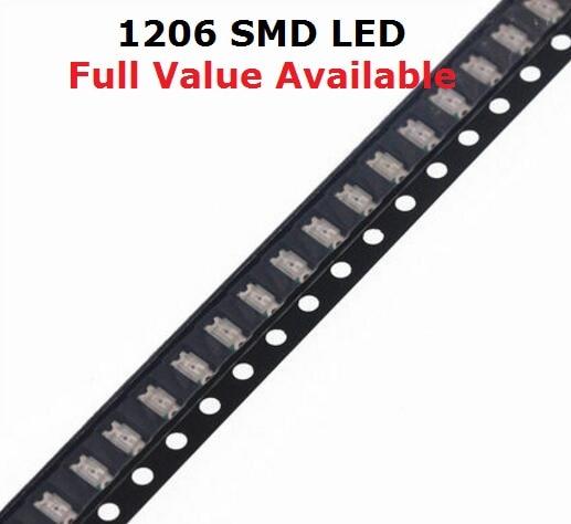 100 Uds. 1206 LED amarillo rojo verde cálido blanco azul púrpura naranja luz que emite diodo SMD cuenta súper brillante alta calidad envío gratis