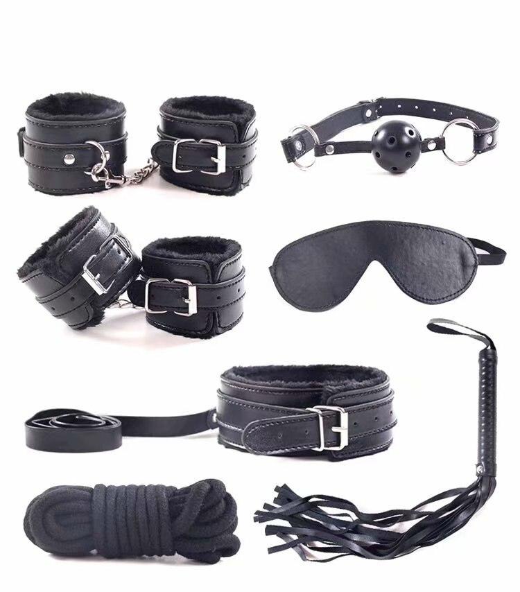 Negro púrpura Rosa adultos juguetes sexuales para par 7 Set esposas de cuero de la PU látigo collar de bondage de juguetes restricciones para los hombres