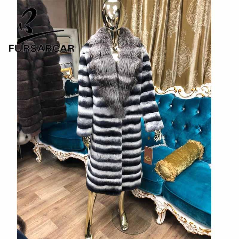 FURSARCAR 110 سنتيمتر طول النساء معطف الفرو الحقيقي 2021 جديد ريكس الأرنب معطف الفرو مع الفضة الثعلب الفراء طوق الفاخرة الشتاء الفراء سترة