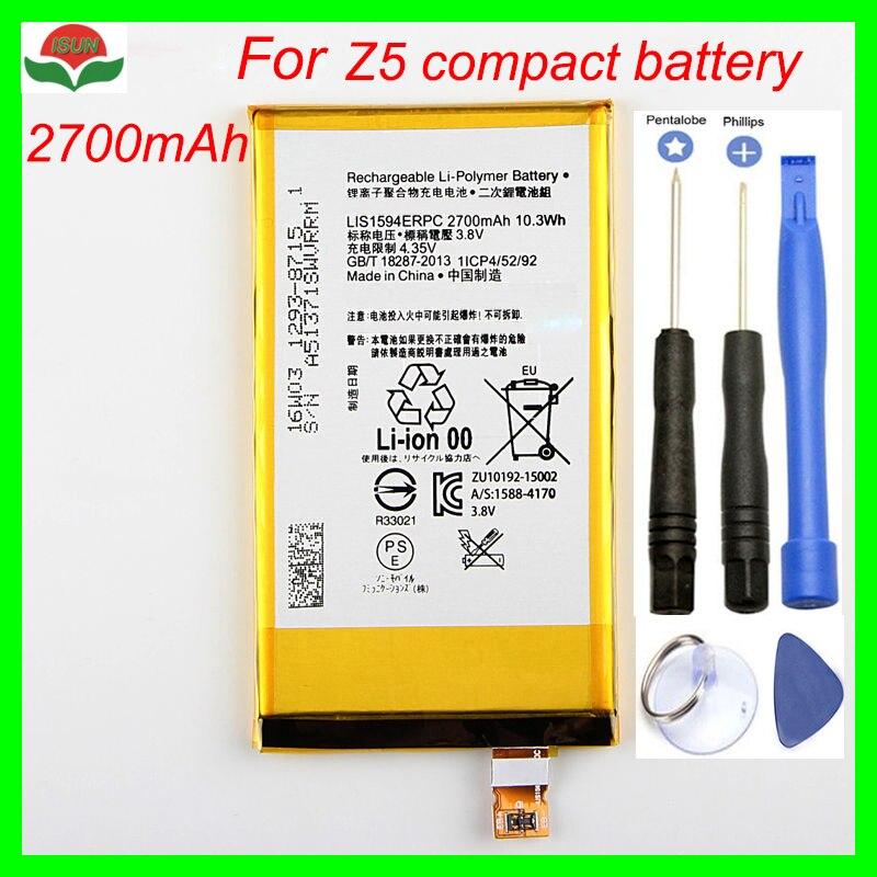 ISUNOO батарея для мобильного телефона Sony Z5 compact для Z5C Z5 mini E5823 2700mAh LIS1594ERPC Замена батареи с ремонтными инструментами