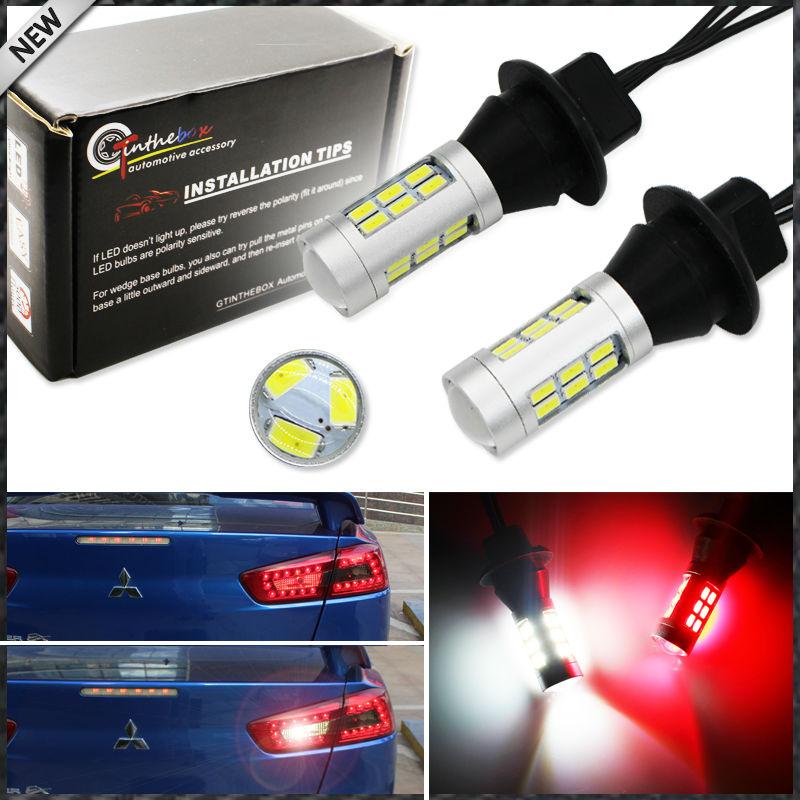 2 шт. 21-SMD белый/красный двойной цвет 7440 7444 T20 светодиодный Сменные лампы для резервные фары заднего хода автомобиля и задние противотуманные фары