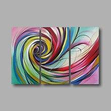 Tableaux à lhuile avec ruban tourbillon abstrait   Tableaux modernes peints à la main en 3 panneaux, tableaux muraux sur toile pour décoration de la maison, salon