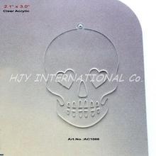 """(6 unids/lote) pendientes de calavera de acrílico blanco transparente de 76mm corte láser GUARDAR LA FECHA collar de noche de brujas 3 """"-AC1066"""