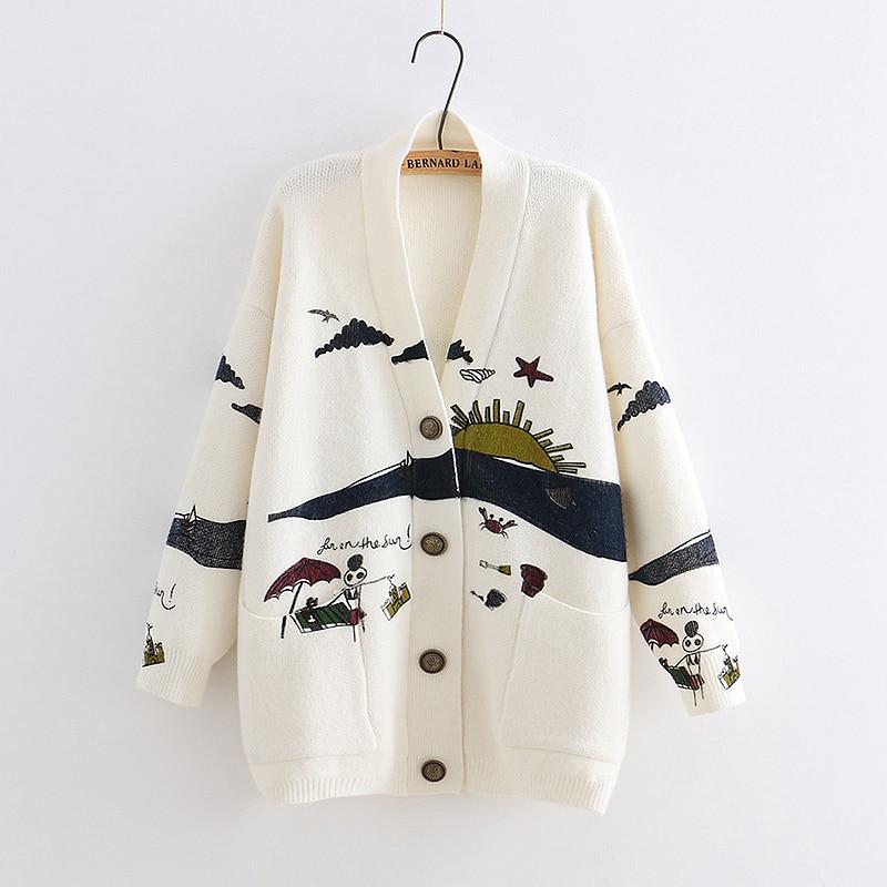 YoYiKamomo suéter de primavera para mujer que hace punto 2019 japoneses nuevos Mori Girl cuello pico jersey tejido jacquard invierno