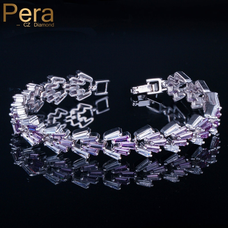 Pera moda kobiety codzienna biżuteria Party duże bagietki kwadratowe Mystic fioletowy kryształowy kamień zawieszka srebrna bransoletki B140