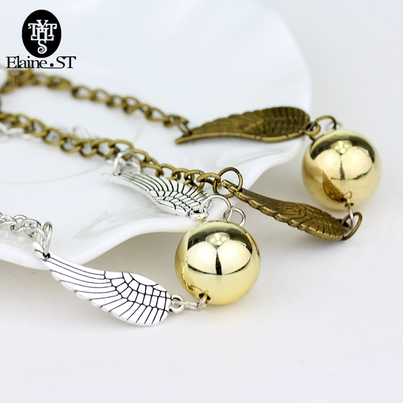 Pulsera de bolsillo de Snitch Dorada de Quidditch, brazalete de alas de soplón de moda, regalo de joyería, brazaletes, regalo de Navidad