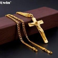 Uwin pendentif homme acier inoxydable couleur or jésus croix Christ Crucifix avec 5mm chaîne cubaine collier mode Hip Hop bijoux