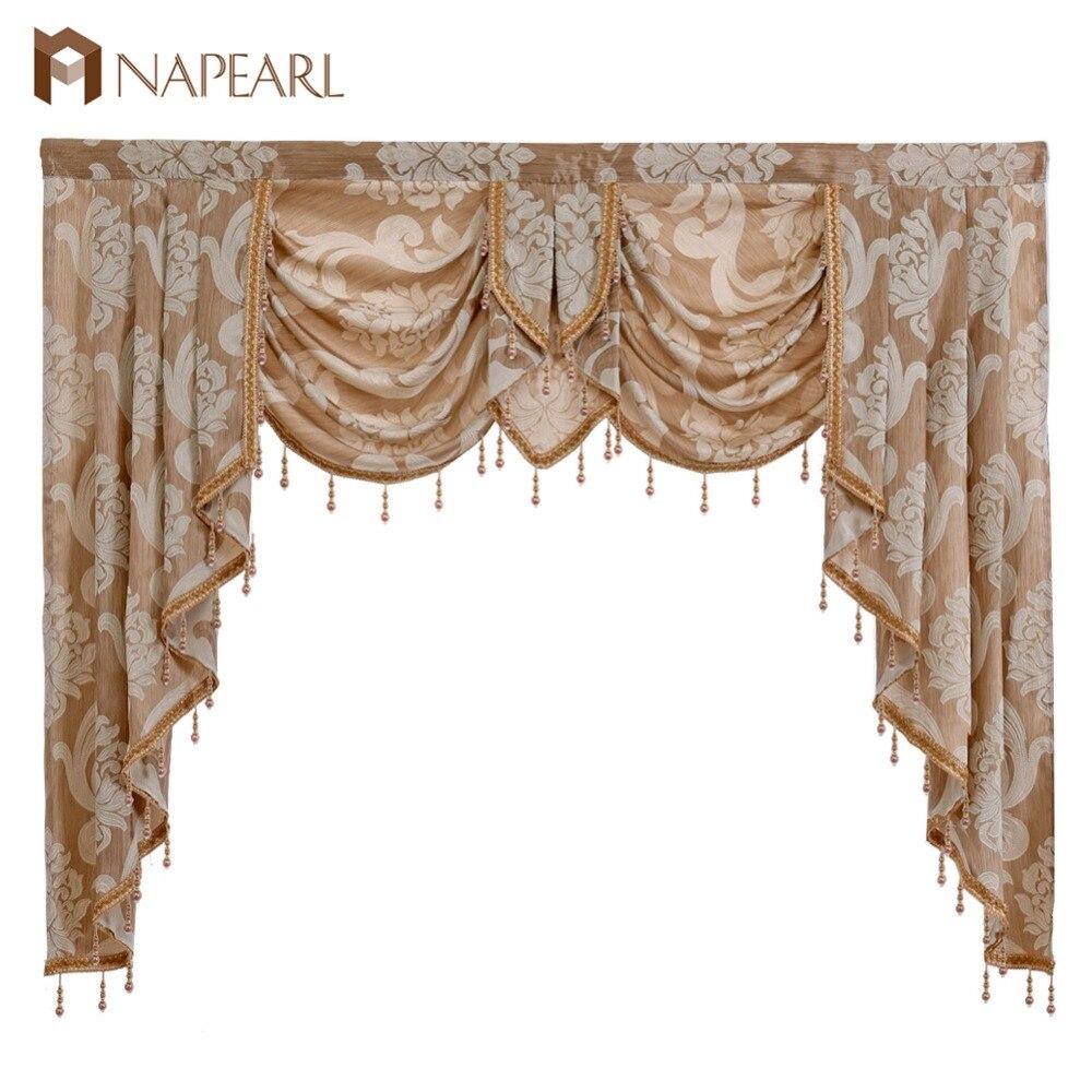 Cortina de ventana decorativa rústica con cenefa de cuentas de lujo de 1 pieza NAPEARL, telón de fondo para el hogar, cortinas de cascada para el salón listas para usar