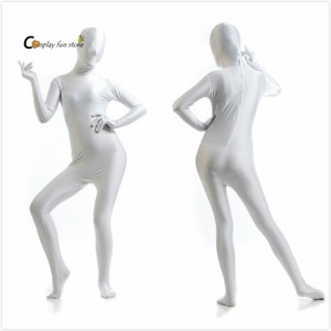 Free shipping custom Adult Full Body Spandex Lycra Zentai Suit white Tight Suits Pure Color Halloween Party Unitard