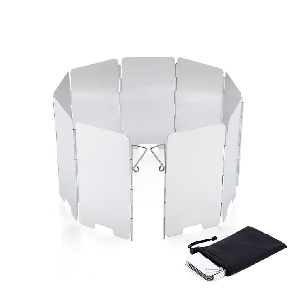 Estufa plegable de aluminio de 9 placas, cocina al aire libre, cocina para acampar, barbacoa, equipo de parabrisas con bolsa de alta calidad