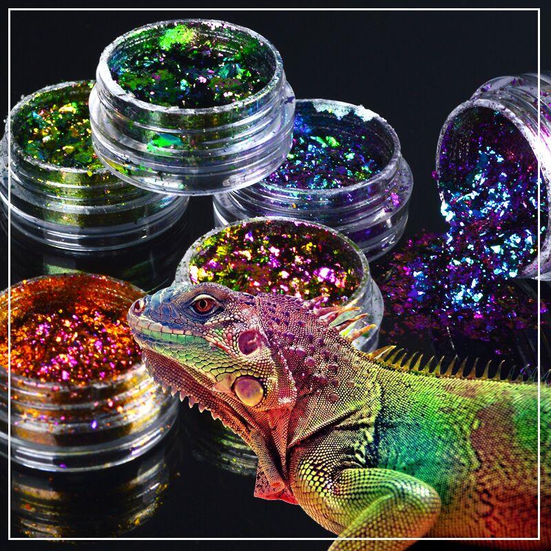 ZKO 2020 Venta caliente 1 caja camaleón lentejuelas resplandecientes para uñas polvo holográfico deslumbrante uñas arte decoraciones con brillo
