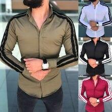 الكورية نمط Modis الرجال قمصان طويلة الأكمام زر حتى الأعمال العمل الذكية فستان رسمي علوي عادية ملابس رجالي تلائم الرجل النحيف ملابس للرجال