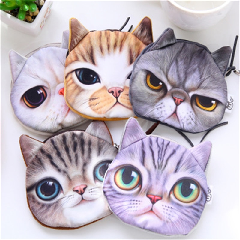 3D girl Retro meow star human face zipper mini cat face pet cat coin bag stationery bag Creative Christmas gifts