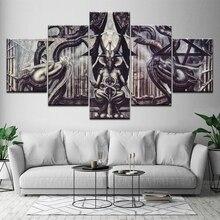 Peinture toile Baphomet 5 pièces   Papier peint modulaire, Promotion dart Alien, peinture murale, décoration de maison imprimée