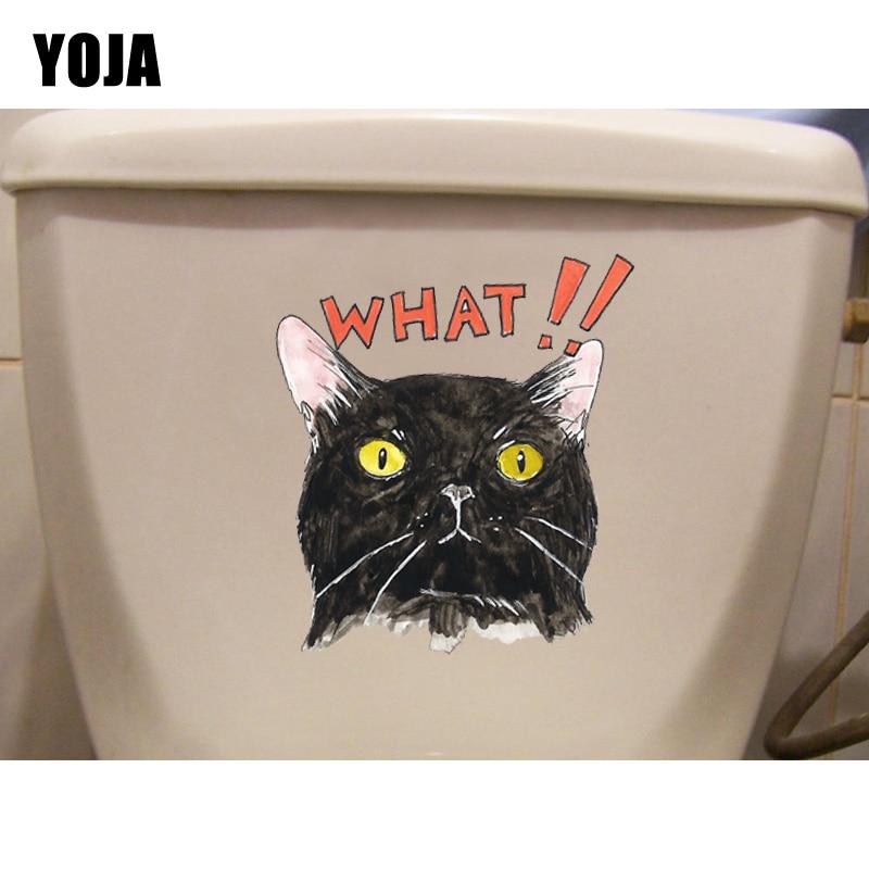 ¡YOJA 19,9*20,1 CM.! Etiqueta engomada del baño de la pared de la personalidad del gato T1-0094