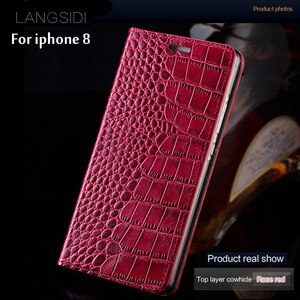 Luxury Phone Case For iPhone 8 crocodile texture Genuine Leather phone shell For iPhone 6 6S 7 8 Plus X back cover