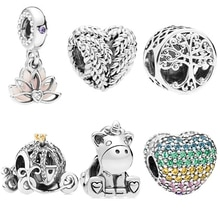 Vintage Punk Silver Color Unicorn Lotus Mouse Love Zircon Charms Beads Fit Pandora Bracelets Necklaces for Women Making Jewelry