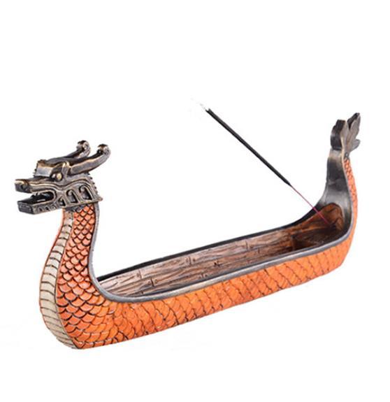 Quemadores de incienso Retro tallados a mano, adornos de incensario, quemador de incienso de Barco Dragón tradicional, decoración de casa de té