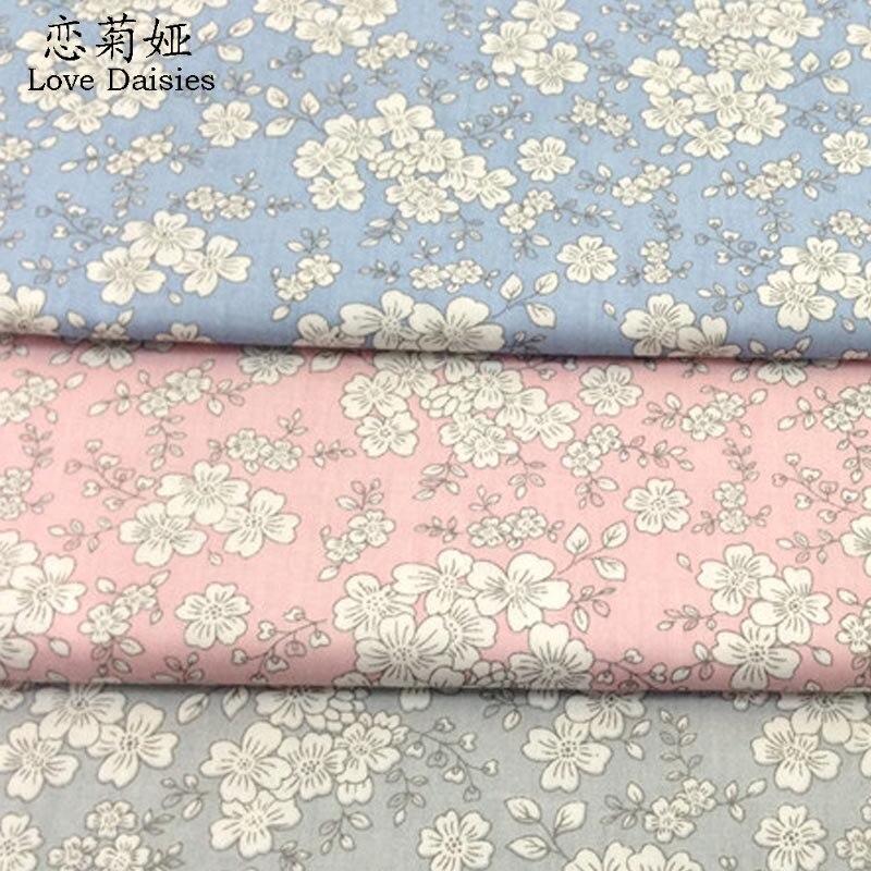 100% algodão estilo japonês branco floral sarja pano diy para crianças roupa de cama vestido handwork retalhos artesanato estofando tecidos