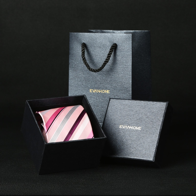 New Formal Ties For Men Classic Pink Purple Striped Party Zip Necktie Fashion Slim 8CM Wedding Business Male Gift Casual Groom