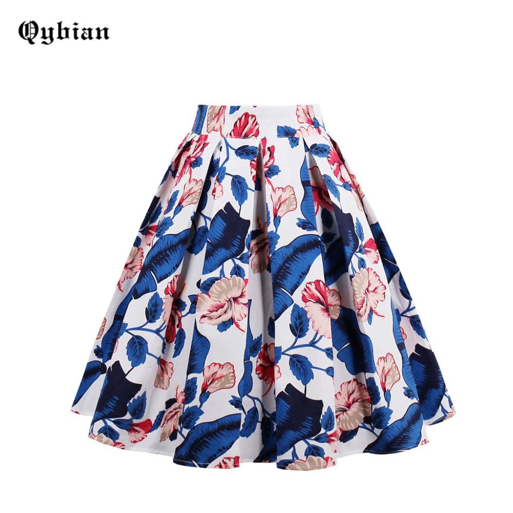 Qybian Vintage azul hojas rojas flores estampadas elásticas de cintura alta Pretty Women midi faldas Casual Falda plisada de mujer Saias Fadalas