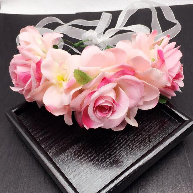 Venta al por mayor de corona de flores para damas de honor, guirnalda Floral para fiestas infantiles, accesorios para el cabello, fotos de estudio, flores