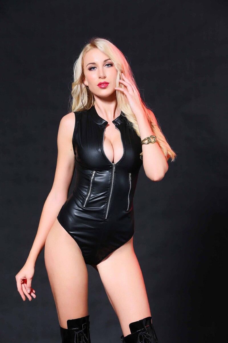 Sexy mujer cremallera PU cuero leotardo negro sin mangas Wetlook Bodycon Catsuit Punk Gotic Cat mujeres Bodysuit Clubwear