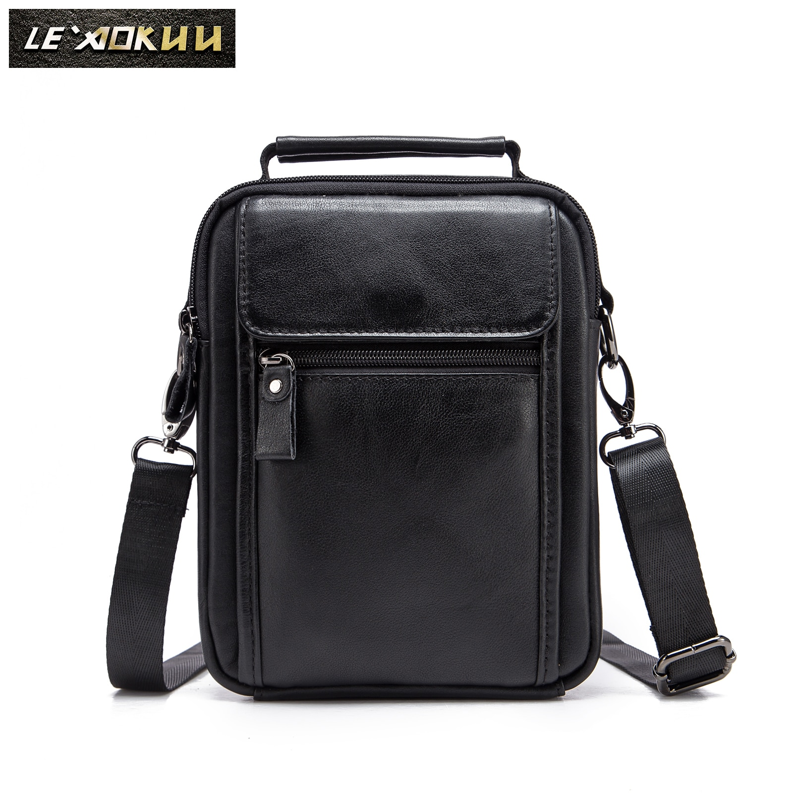 Genuine Leather Male Fashion Casual Design Satchel Messenger Shoulder Strap Bag 8