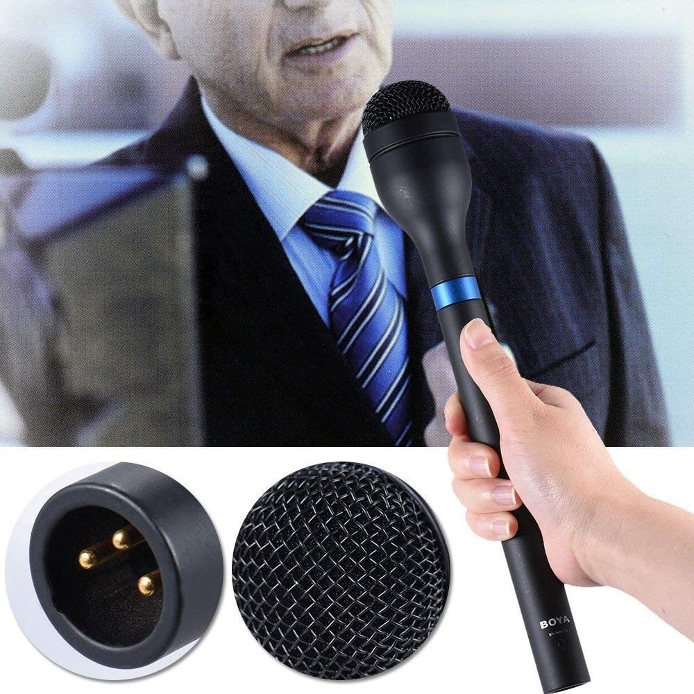 BOYA BY-HM100 Microphone Omni-Directional Wireless Handheld Dynamic Microphone XLR Long Handle for ENG Interviews News Gathering enlarge