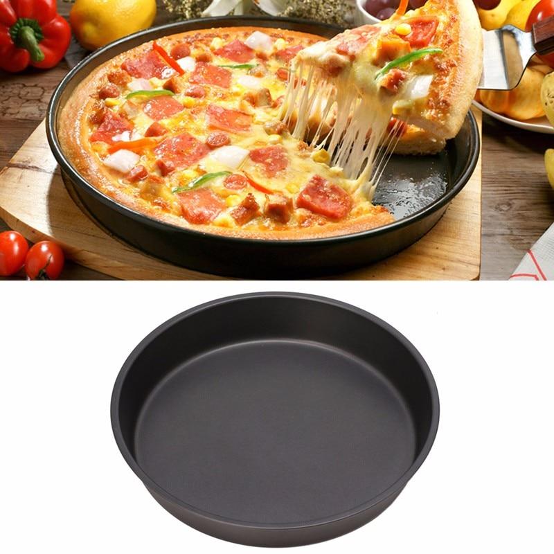 Novo prato profundo redondo antiaderente pizza pan bandeja de pizza ferramenta de cozimento cozinha 24cm aço do agregado familiar