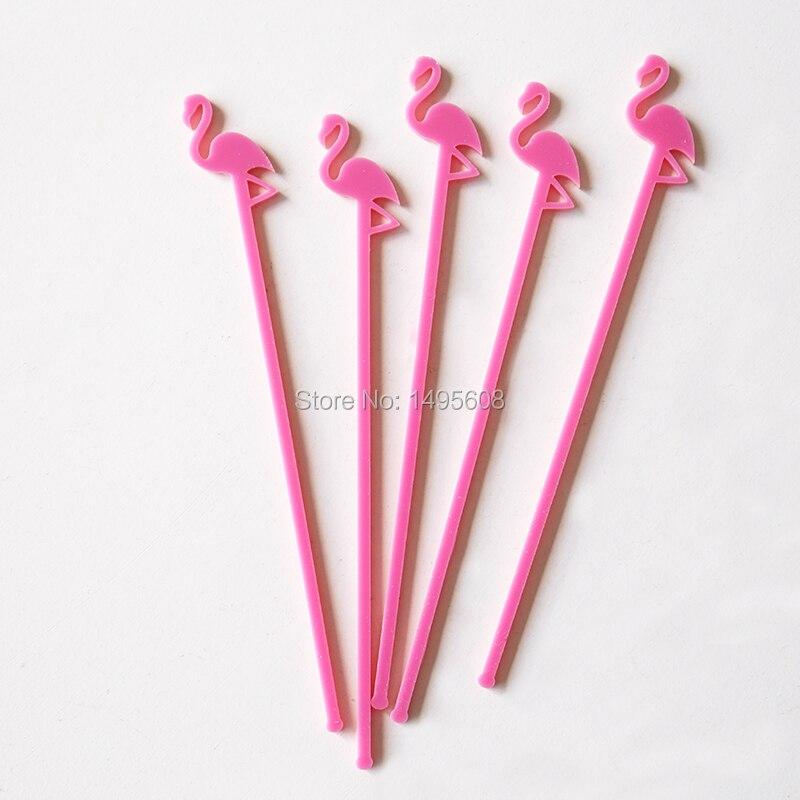 Agitadores de bebidas con inspiración Tropical Flamingo, varillas para mezclar, varillas para remover, corte láser, acrílico, 6 unidades, cócteles
