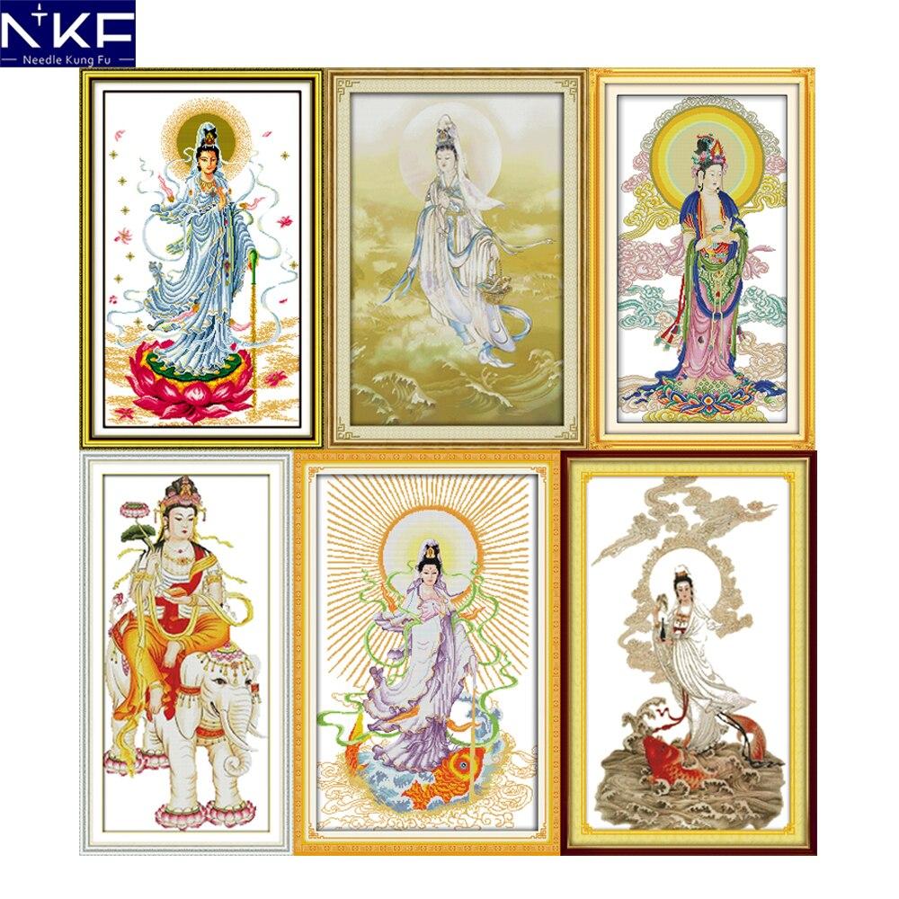 NKF Guanyin Carimbado Religiões do Ponto da Cruz Kits de Bordados 11CT 14CT Kits DIY Pintura do Ponto da Cruz Chinesa para a Decoração Home