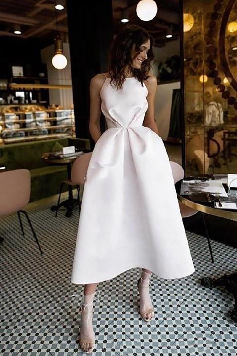 Купить с кэшбэком LORIE Cheap Short Wedding Dresses 2019 Spaghetti Straps Robe De Mariage Satin Bridal Dress Elegant Half-Calf Wedding Gown