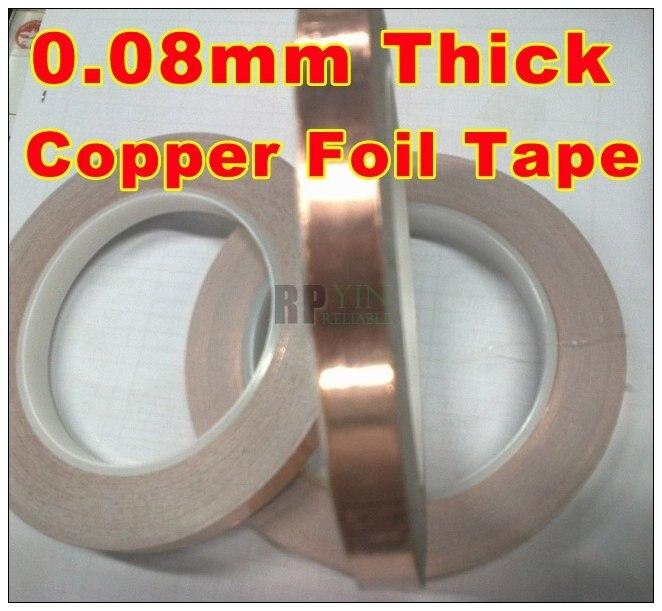 1x 9mm *30M *0.08mm Thick Conductive Shielding  Copper Foil Tape,  Transformer EMI Shielding Free Shipping,