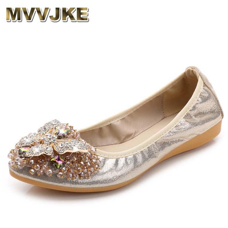 Mvjke feminino cristal ballet flats tamanho 34-43 2017 primavera sólido ouro bling pano dedo do pé apontado sapatos planos
