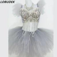 white gray rhinestones crystals bikini set sexy bar nightclub dj ds female costumes shining singer dancer performance party