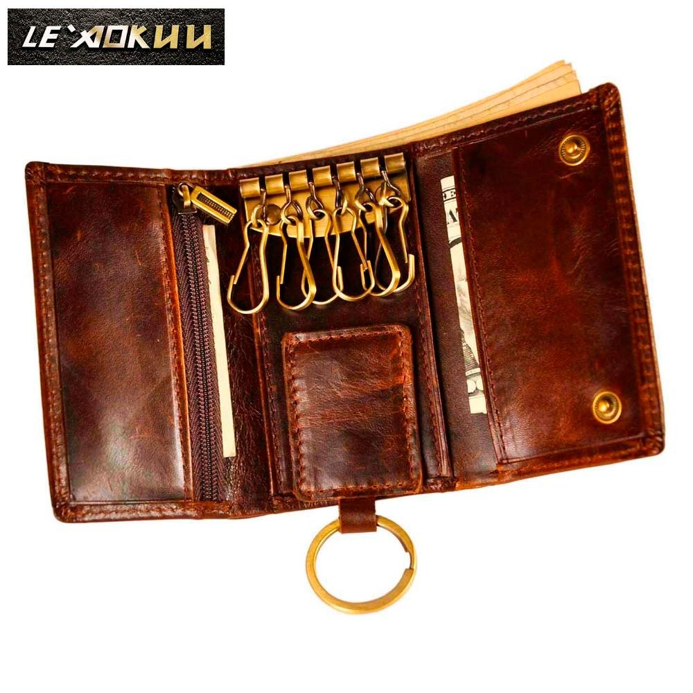 AliExpress - Original Leather Men Fashion Multifunction Coin Wallet Car Remote Case Key Ring Case Holder Chain Designer Key Package Bag 230-C