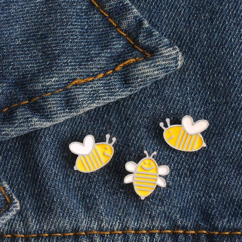 3 Pcs/set High Quality Creative Cartoon Cute Yellow Bee Enamel Pin Brooch Badge Denim Backpack Decoration Brooches For Women Men